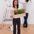 Couple Carrying Boxes In House — Stock Photo #25235975
