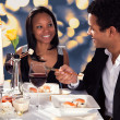 Romantic Couple Eating Sushi — Stock Photo