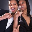 African Couple Enjoying Champagne Drink — Stock Photo
