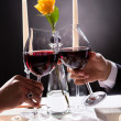 Couple Hands Toasting Wine - Stock Photo