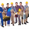 Portrait of happy industrial workers - Stock Photo