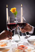 Couple Hands Toasting Wine — Stock Photo