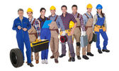 Portrait of happy industrial workers — Stock Photo