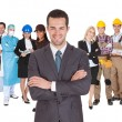 Workers of different professions together on white — Foto Stock #25452291