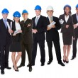 Portrait of happy architect and his team - Stock Photo