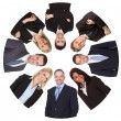 Low angle view of diverse group of business — Stock Photo