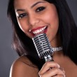 Young Woman Singing In Microphone — Stock Photo