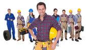 Portrait of happy industrial workers — Stock Photo