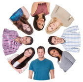 Low angle view of diverse group of — Stock Photo