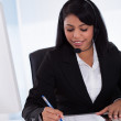 Businesswoman Working On Paper — Stock Photo