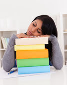 Young Woman Sleeping While Studying — Stock Photo