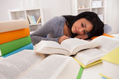 Young Woman Sleeping While Studying — Stok fotoğraf