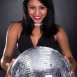 Young Woman Holding Disco Ball — Stock fotografie #26249587