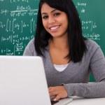 Portrait Of Female Student Using Laptop — Stock Photo