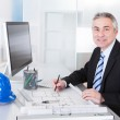 Mature Architect Male Working At The Desk — Stock Photo