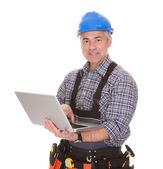 Technician Holding Laptop — Stock Photo