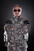 Portrait Of A Mature Soldier Wearing Sunglasses — Stock Photo