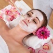 Woman getting facial mask at spa studio — Stock Photo
