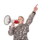 Mature Soldier Shouting Through Megaphone — Stock Photo