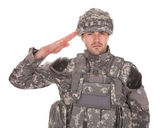 Portrait Of Man In Military Uniform Saluting — Stock Photo