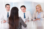 Business Woman Speaking At Interview — Stock Photo