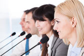 Business Speaking In Microphone — Stock Photo
