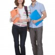 Two College Student Holding Folder — Stock Photo