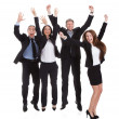 Happy Businesspeople Jumping In Joy — Photo