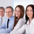Happy Businesspeople In A Row — Stock Photo