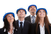 Happy Architects Looking Up — Stock Photo