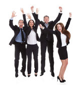 Happy Businesspeople Jumping In Joy — Zdjęcie stockowe
