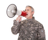 Mature Soldier Shouting Through Megaphone — Stock Photo