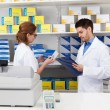 Two Pharmacist Working In Pharmacy — Stock Photo