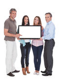 Group Of Holding Billboard — Stock Photo