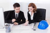 Portrait of two sincere architects working — Stock Photo