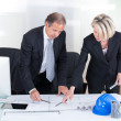 Stock Photo: Two Architects Looking At Plans