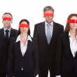Group Of Business People's Eyes Covered With Ribbon — Stock Photo