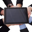Group Of Businesspeople Holding Digital Tablet — Stock Photo