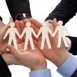 Stock Photo: Businesspeople Holding HumFigure Cutout