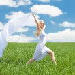 Woman Holding Scarf Running In Field — Stock Photo #28063409