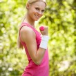 Young Woman Exercising With Dumbbells — Stock Photo