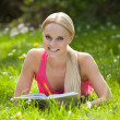 Young Woman In Park Reading Book — Stock Photo