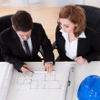 Portrait of two sincere architects — Stock Photo
