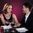 Happy couple in restaurant — Stock Photo