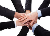 Business People Stacking Hand Over Each Other — Stock Photo