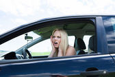 Frustrated Woman Sitting In Car — Stock Photo