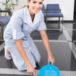 Stock Photo: Young Maid Sweeping Floor
