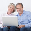 Happy Mature Couple Working On Laptop — Stock Photo