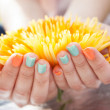 Close Up Of Woman's Hands On Flower — Stock Photo