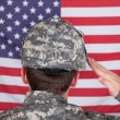 Foto Stock: Portrait Of Solider Saluting